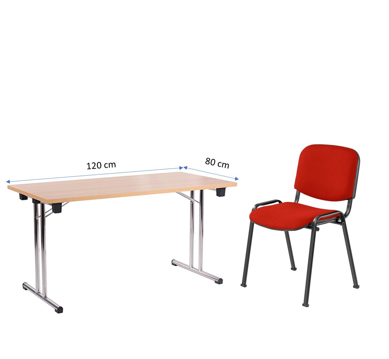 Klapptisch FT 128-25 (120 x 80 cm) mit Stapelstuhl ISO, Gestell schwarz, Bezugsstoff rot