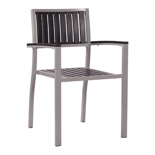 stapelbarer Armlehnstuhl | Outdoor-Stuhl TIMOR mit Kunststoffleisten in anthrazit