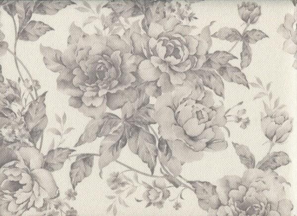 Möbelstoff mit Blumen Muster zum Polstern - FLORA0106 achatgrau
