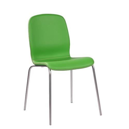 Bistrostuhl | Designer-Stuhl, gepolstert, Kunstleder grün, Design: Salvatore Ferroso