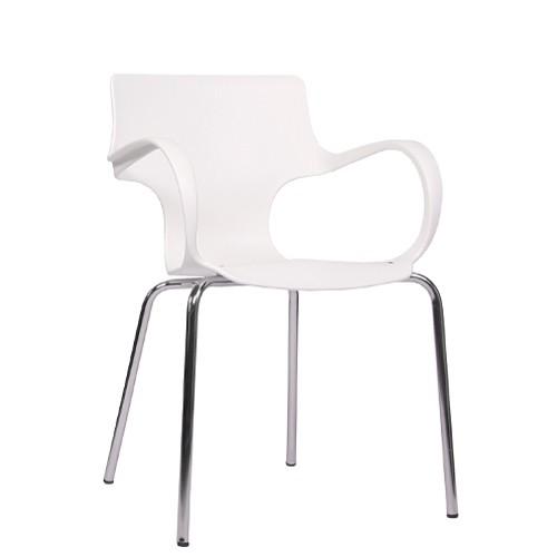 Armlehnstuhl FLORES weiß stapelbar