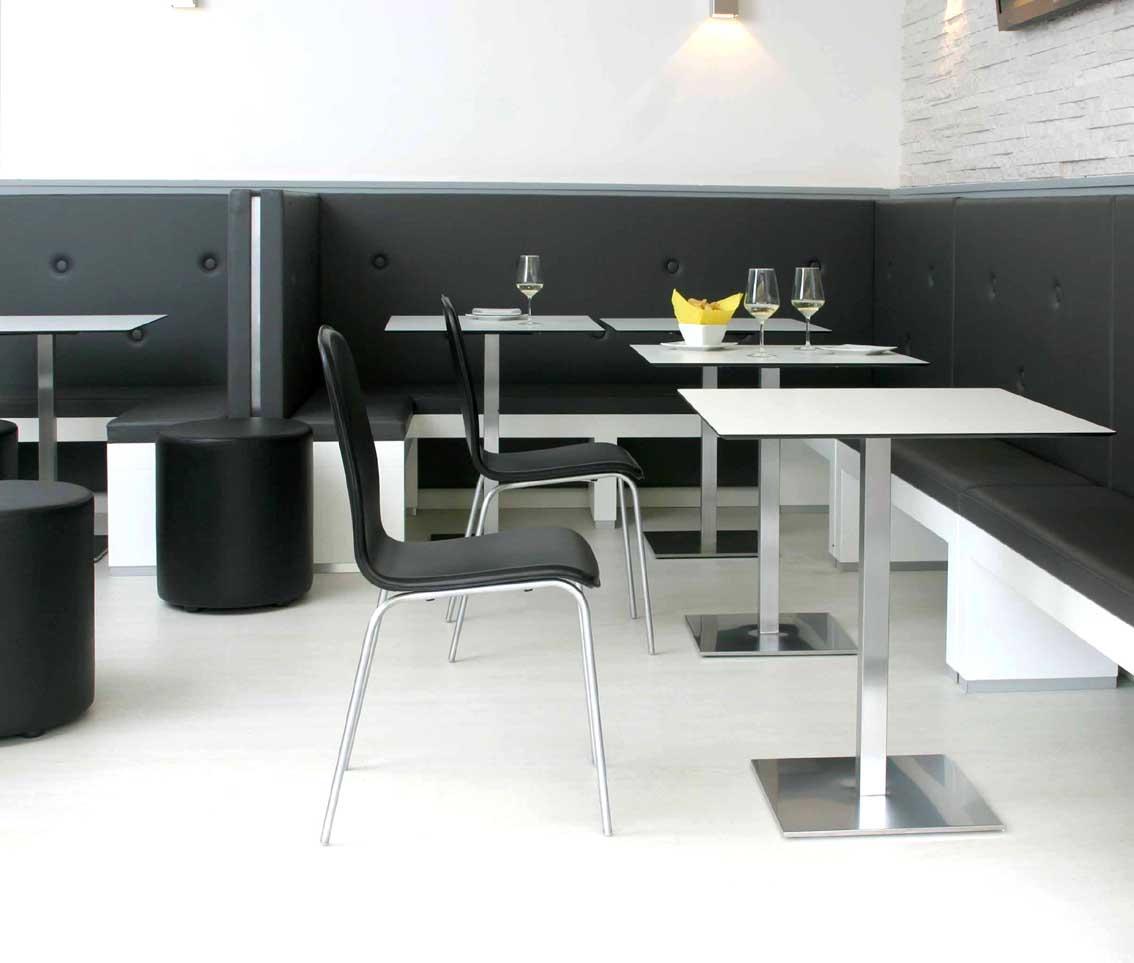 tisch manila edelstahl bistrotische metalltische. Black Bedroom Furniture Sets. Home Design Ideas