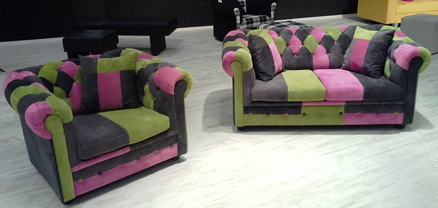 Sessel im Chesterfield-Style mit Patchwork-Look